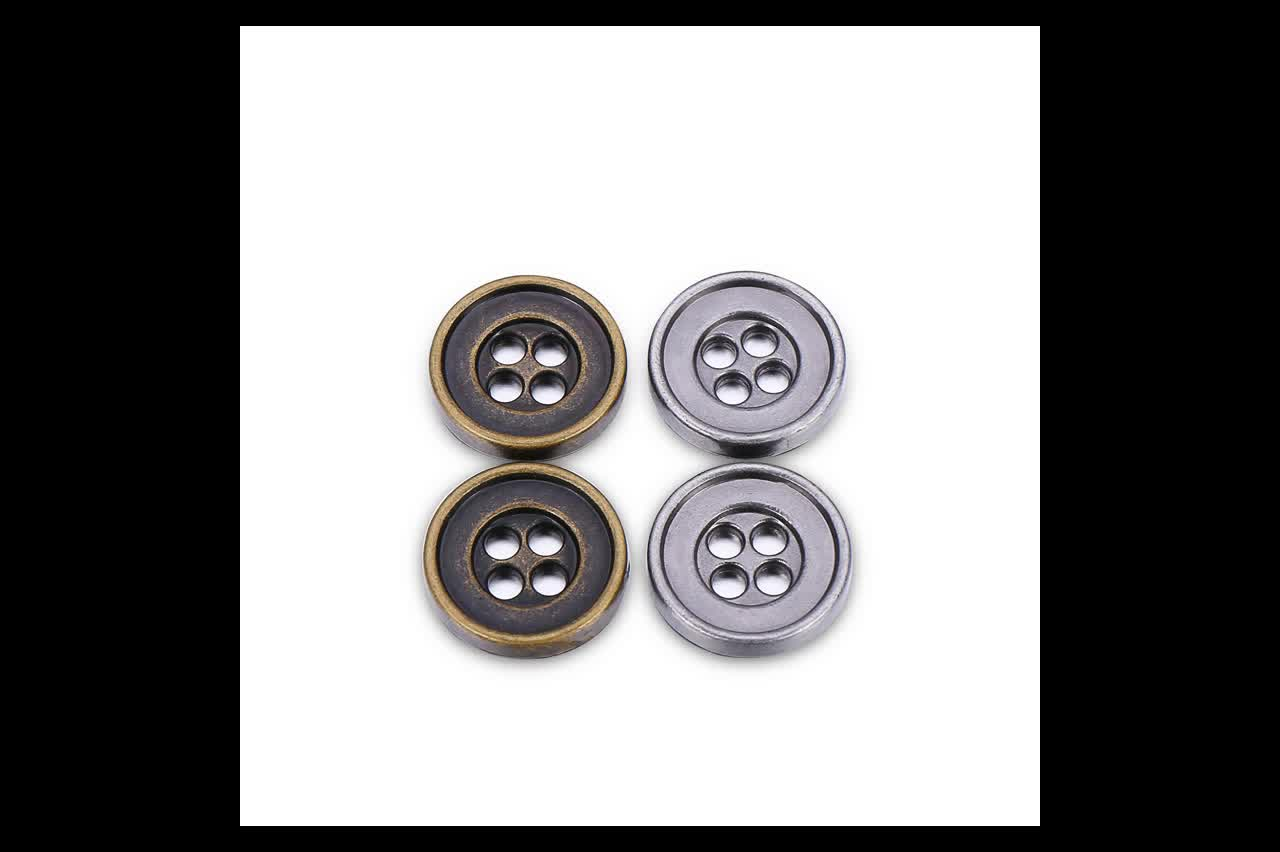 Hot sale metal 4 holes golden buttons for clothes