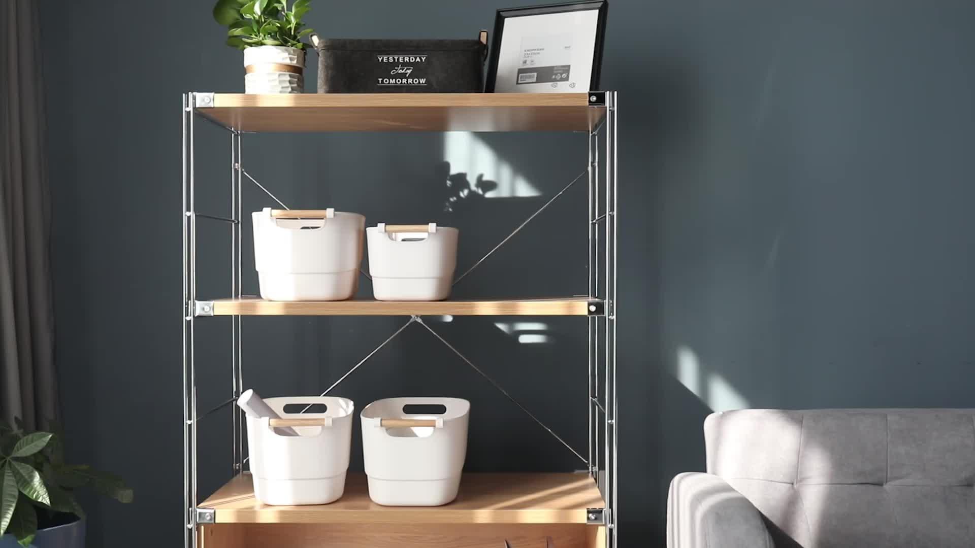 multipurpose plastic basket   with wooden handle  home bakset tray storage