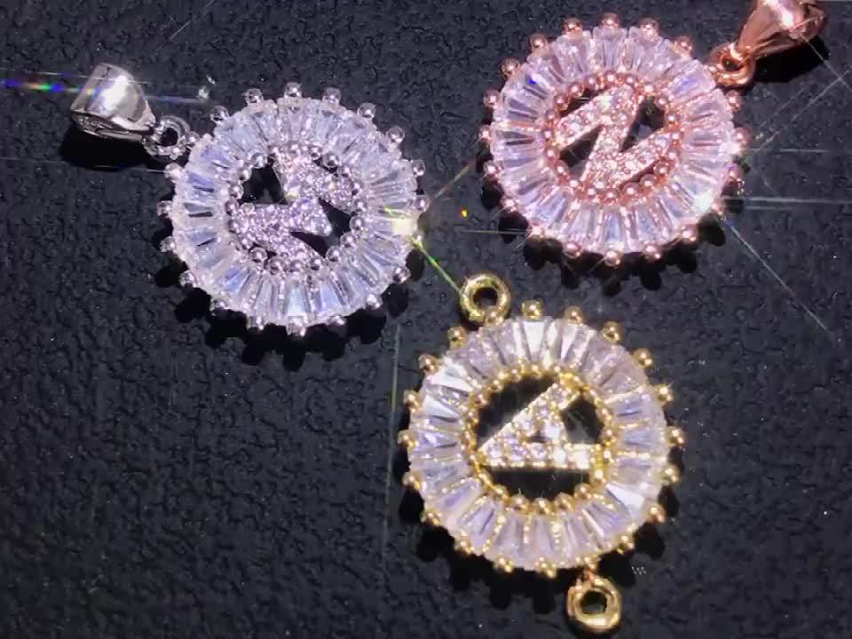 NZ1004 Copper White Cubic Zirconia Diamond 26 Alphabet Letter Charm Pendant Necklaces A-Z Initial Charm Chain Necklace for Women