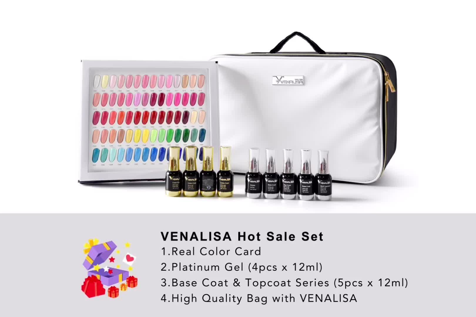 VENALISA Gel Polish Hot Sale Set 12ml 120pcs/kit Manicure Nail Art Salon UV Gel Base Coat Long Wear No-wipe Topcoat Kit