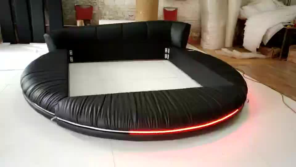 Led Aydınlatma yatak odası mobilyası Kral Yuvarlak Yatak