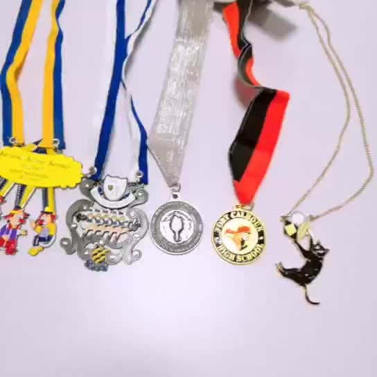 Wholesale soft enamel round souvenir 3d sports custom designed your own blank metal medal