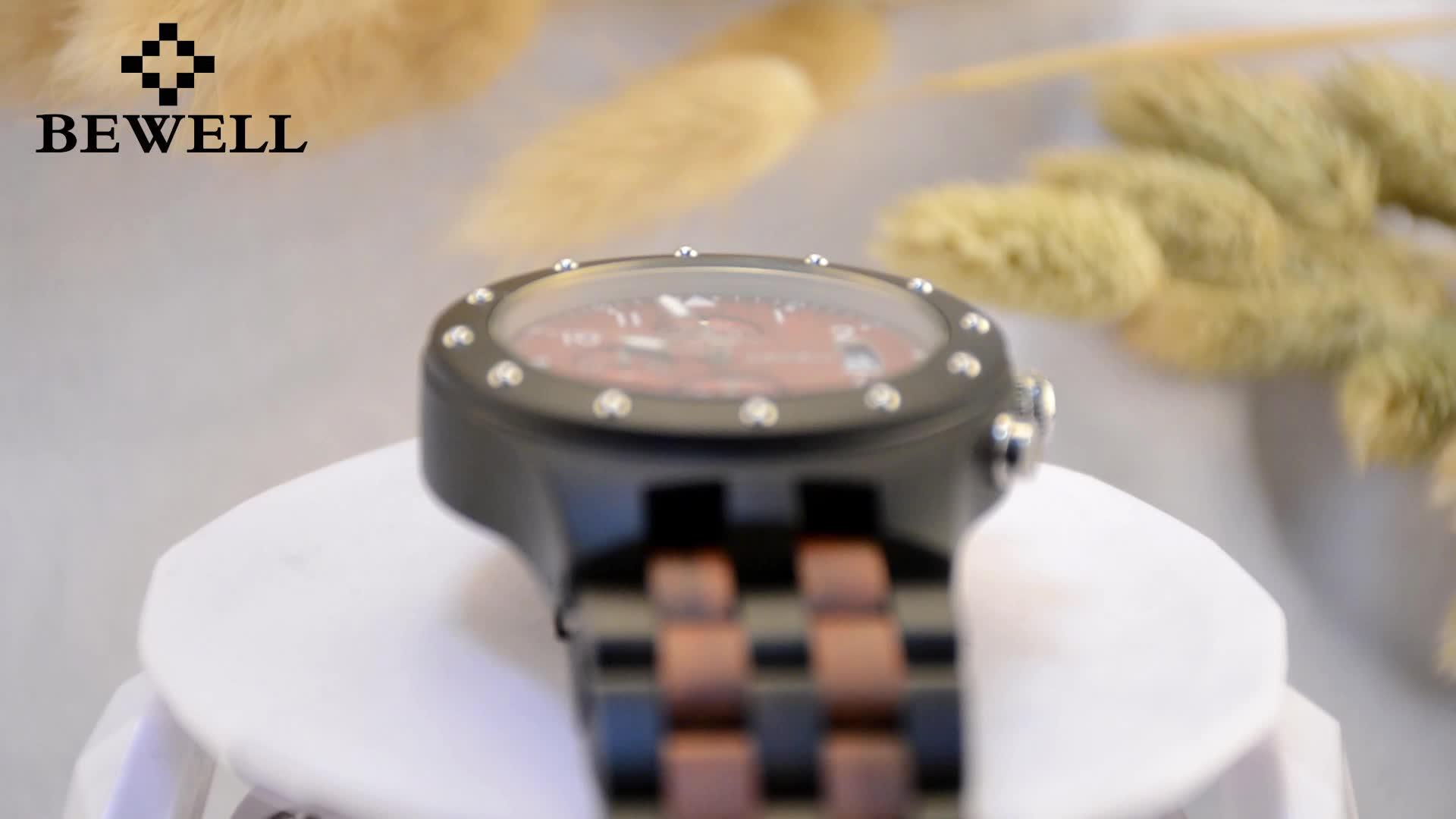 Men Wood BEWELL Vintage Men's Luxury Brand Watches Quartz Wooden Watch