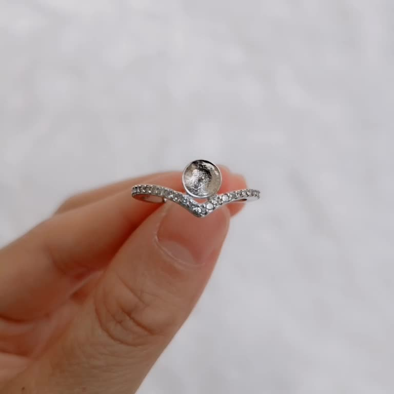 SSR101 Single Layer Micro Pave Zircon Ring Pearl Settings 925 Silver