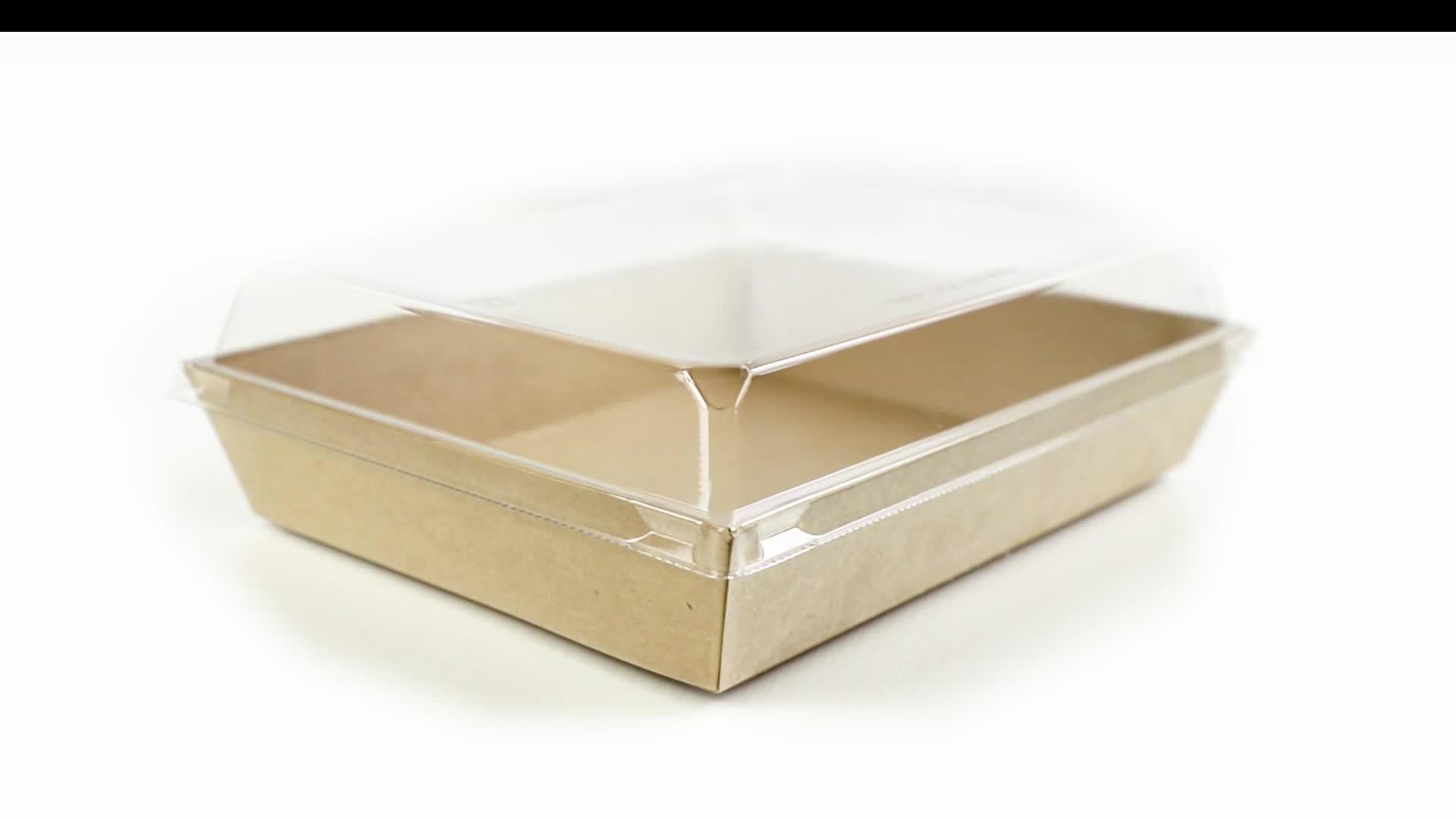 FDA black to go kraft paper box bakery packaging kraft food tray