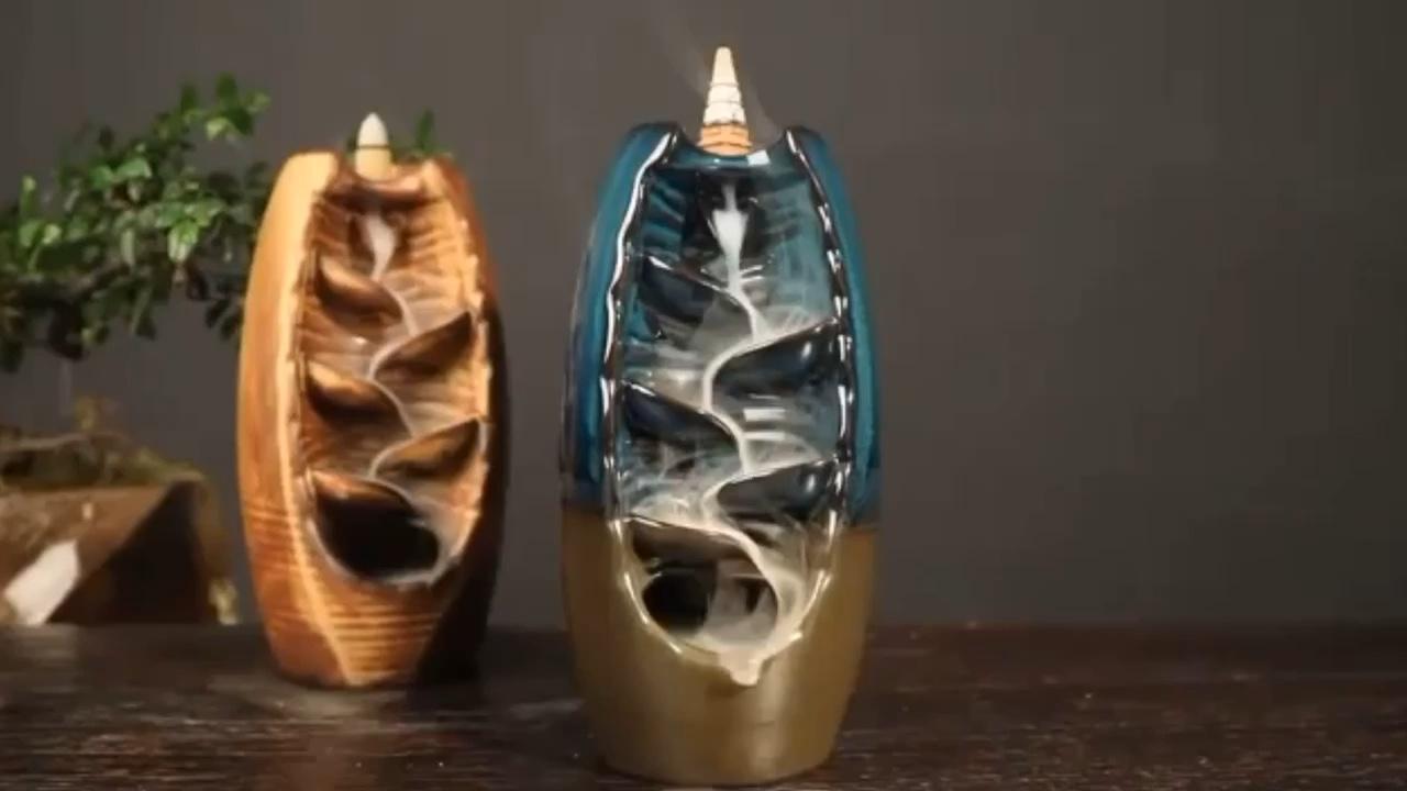 Quemador de incienso de cerámica de la quema de la cascada a flujo de quemadores de incienso arábigo oud reflujo quemador de joss stick titular