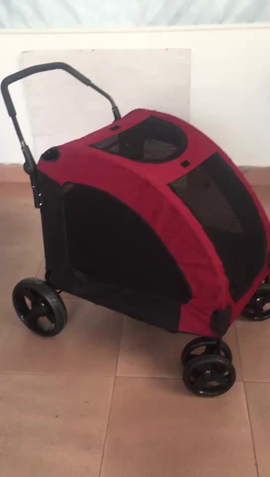 Pet 4 wheel folding stroller  product luxury for animals dogs  large pet stroller factory wholesale high quality