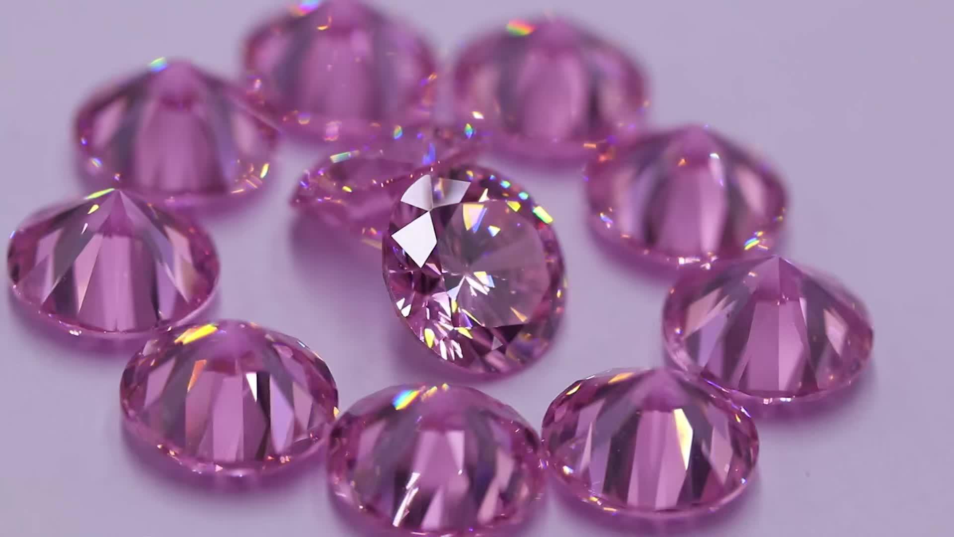AAA diamoud cut round pink synthetic zircon loose gemstones