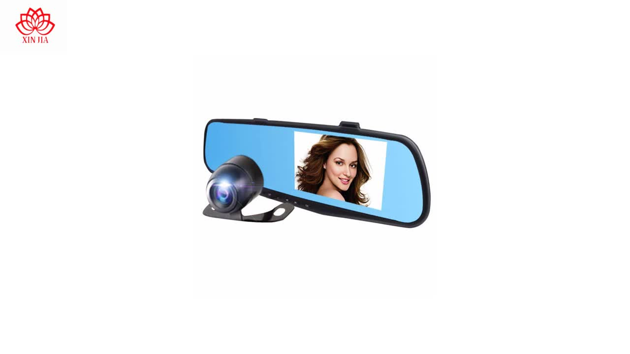2019 Hot selling 1080P FULL HD 2 camera dual lens mirror dash cam car dvr rearview mirror two camera