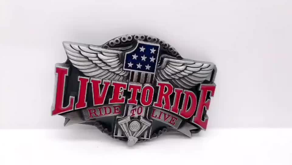 wholesale Rock and roll style metal belt buckle custom   made motorcycle club buckles