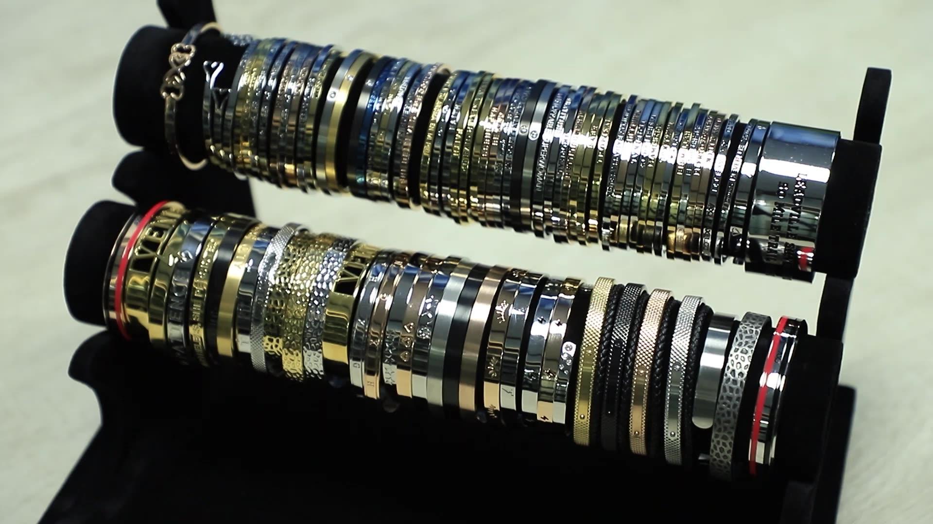 Europeus e Americanos jóias moda cruz de aço inoxidável logotipo personalizado simples manguito pulseira