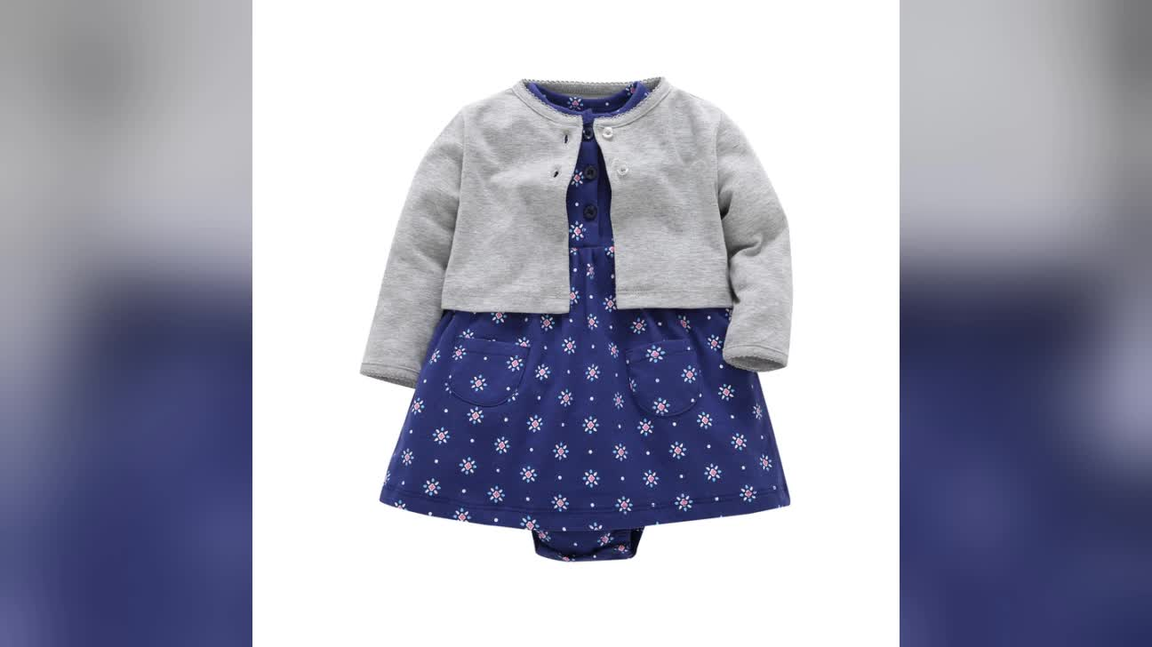 High Quality 100% Cotton Baby Knitted Jumpsuit Organic Baby Clothes Baby Dress In-Stock For Autumn