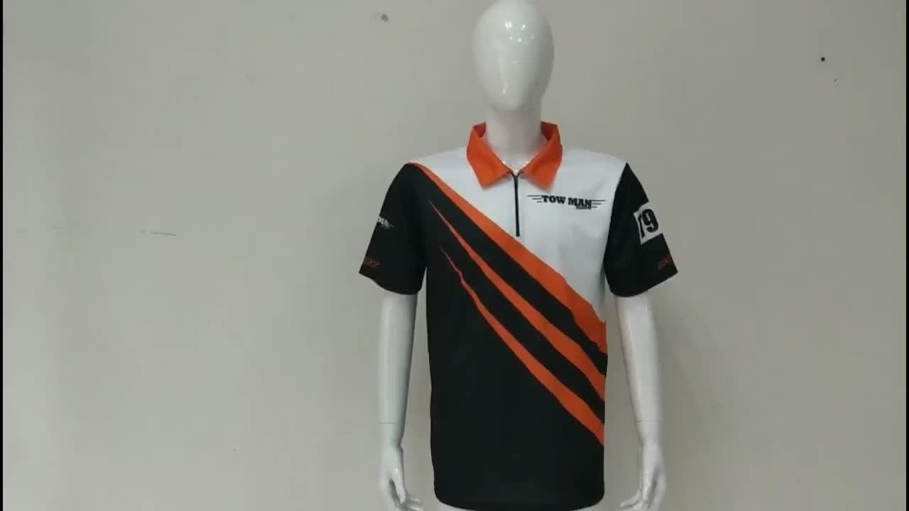 男性半袖昇華ゴルフポロシャツカスタマイズされたロゴ