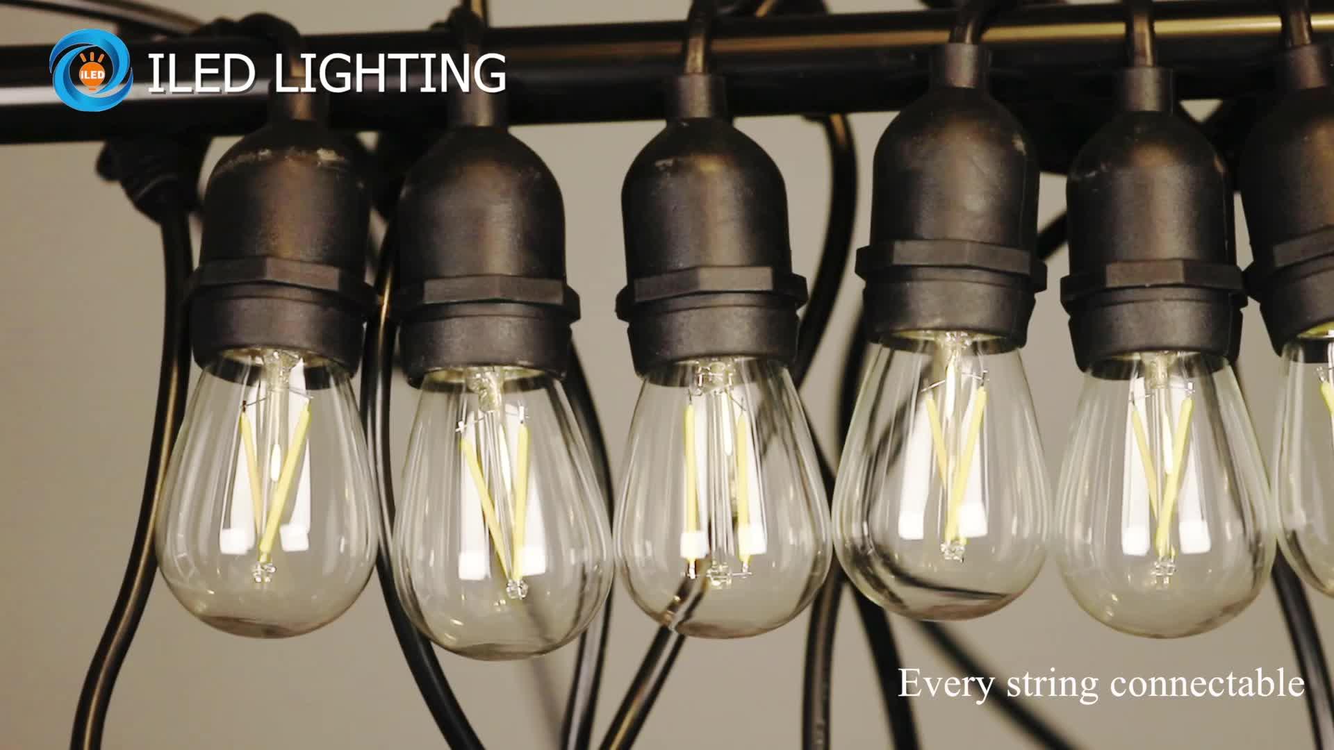 48 Feet Long In Stock Outdoor String Lights with Hanging sockets, Weatherproof Commercial Heavy Duty Festoon Garden Lights