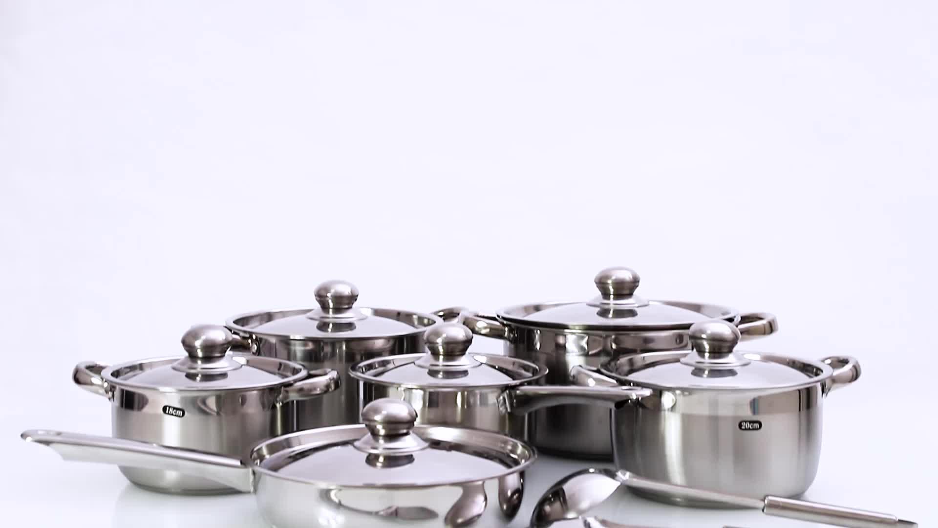 מטבח כמוסה תחתון סירים פאן 12 pcs נירוסטה כלי בישול סט עם מכסים