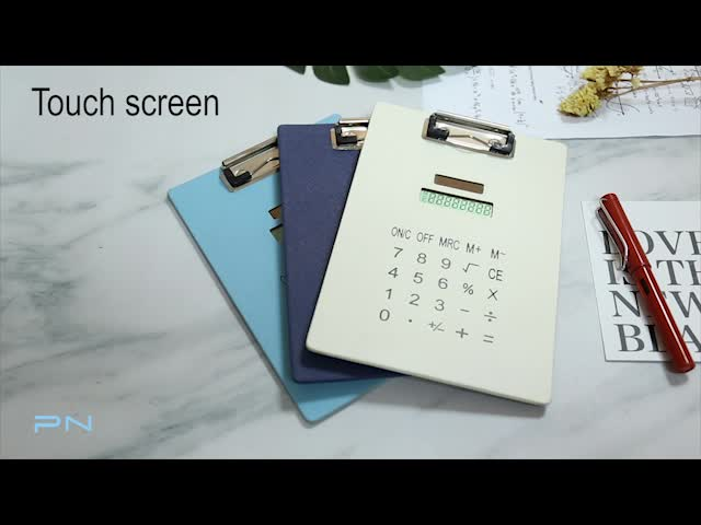 Colorful 8-Digit Solar Record Clipboard Calculator for Office and School
