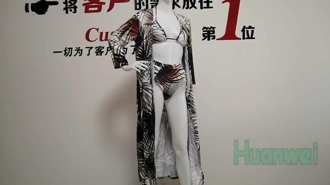 OEM Three Pieces Printing Sunscreen Swimwear Bathing Suit Women Beachwear Bikini With Cover Up Swimsuits