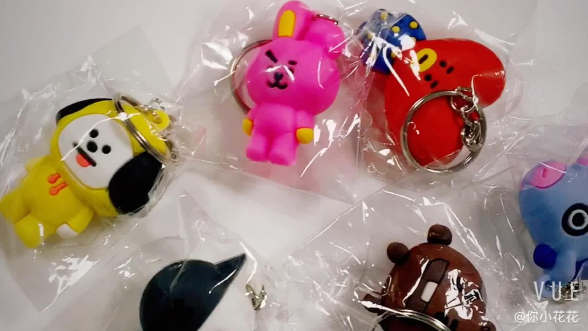 Atacado kpop Coréia estrela Personalizado pvc macio keychain do anel chave da cadeia de plástico incluindo o bing
