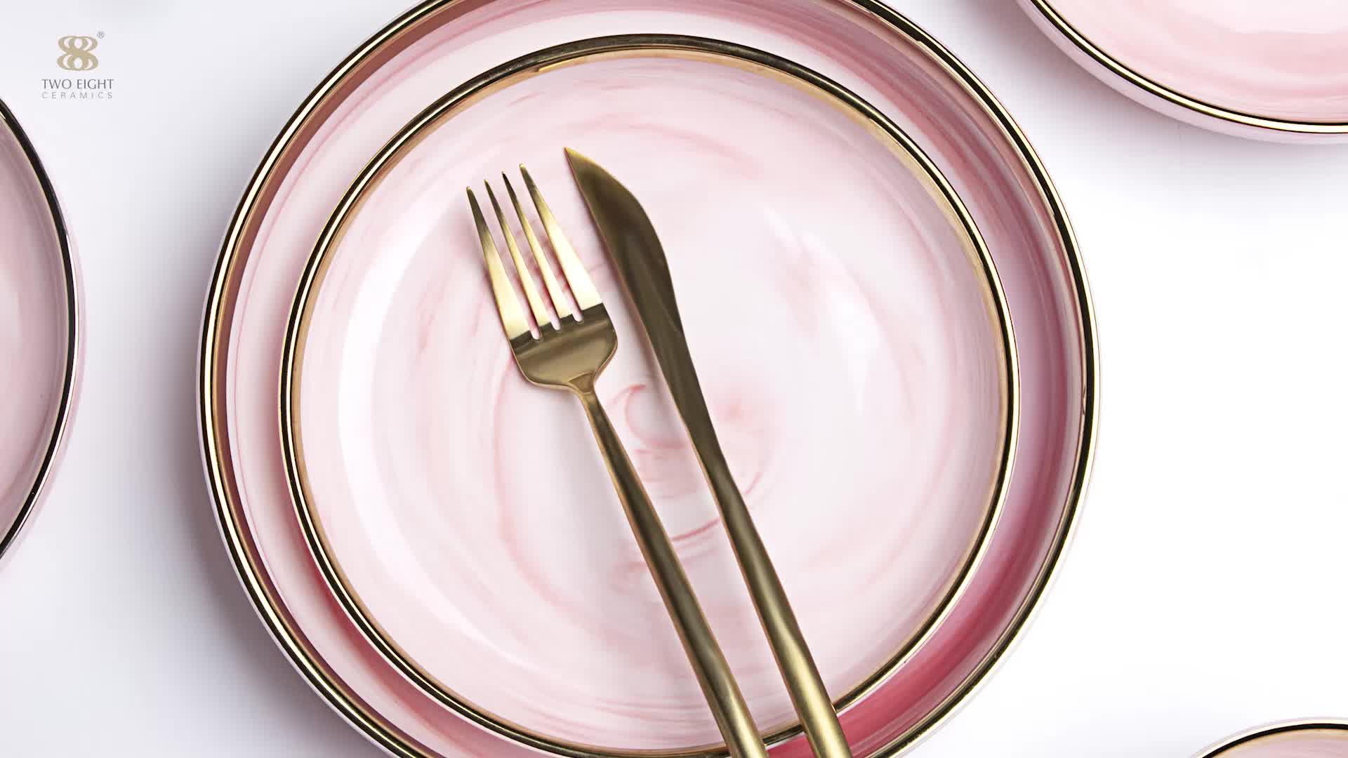 Keramik Abendessen Platten Restaurant Verwenden Gold Luxus Rosa Geschirr, Platte Set Keramik Catering Liefert Gold Marmor Lieferant *