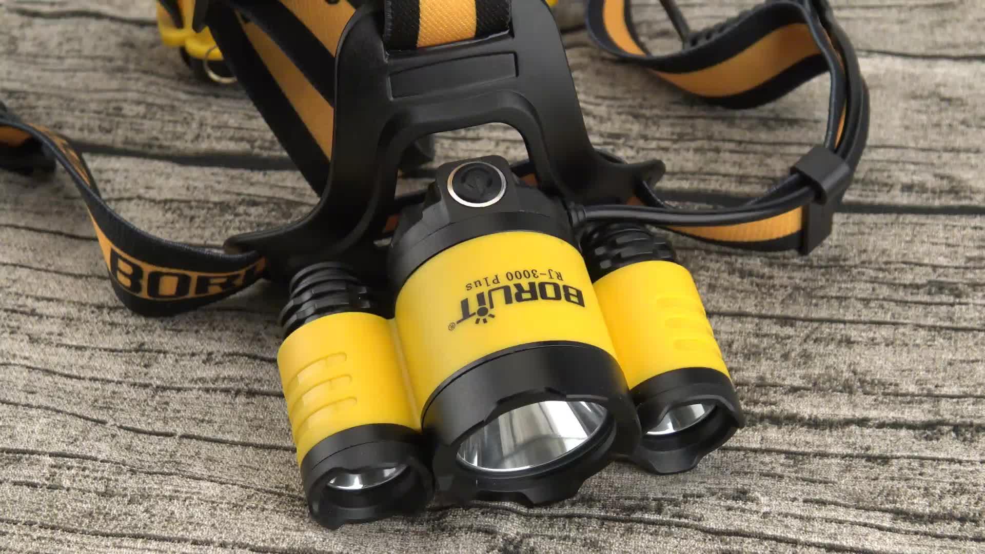Boruit عالية الطاقة 30 واط LED المصباح USB تهمة 3 Led كشافات مع SOS صافرة