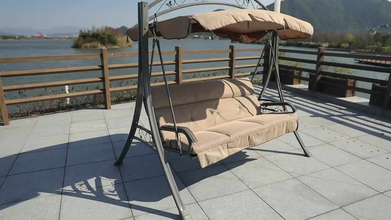 Garden Patio Swing Chair 3 Seater Swinging Hammock Canopy Outdoor Cushioned Bench Bed Seat