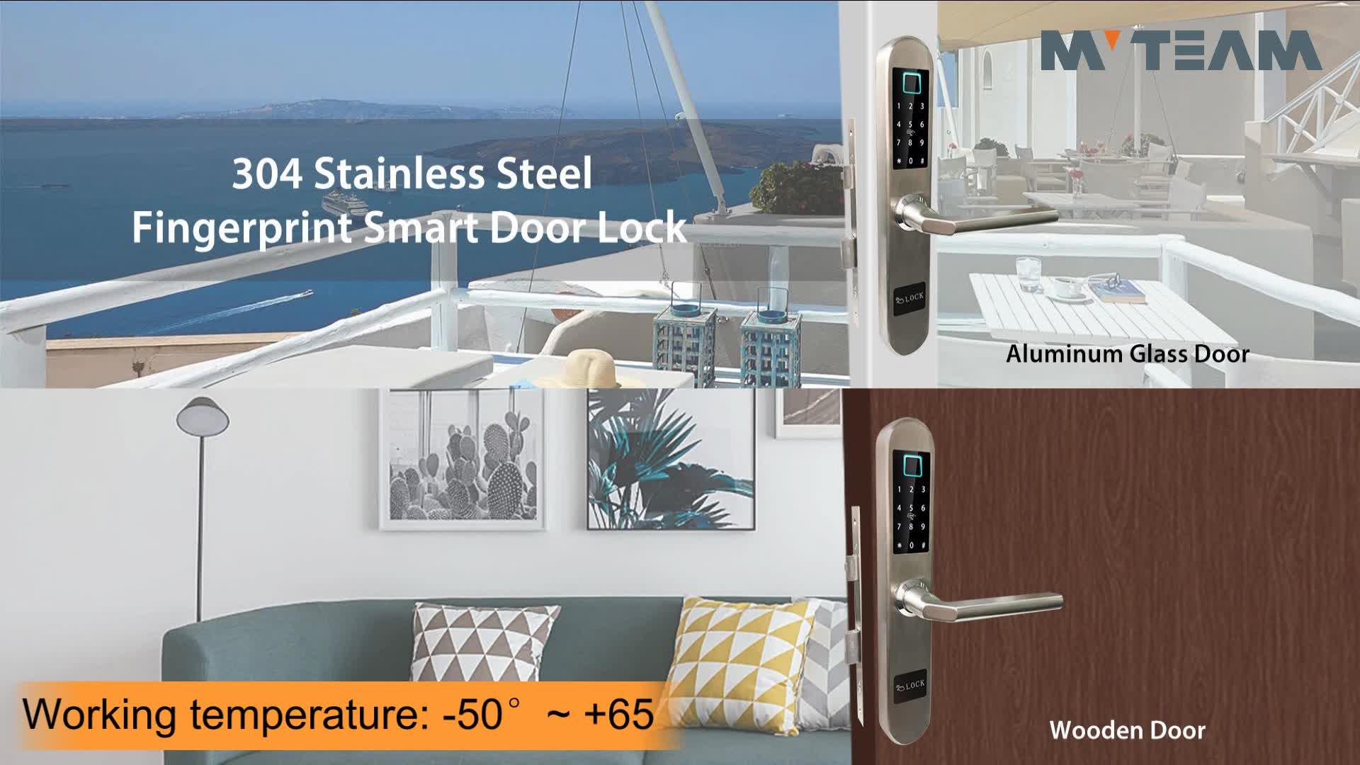 Outdoor Waterproof Antifreeze Residential Door Locks Keyless Finger Print Smart Sliding Door Lock for Aluminium Alloy Glass Door