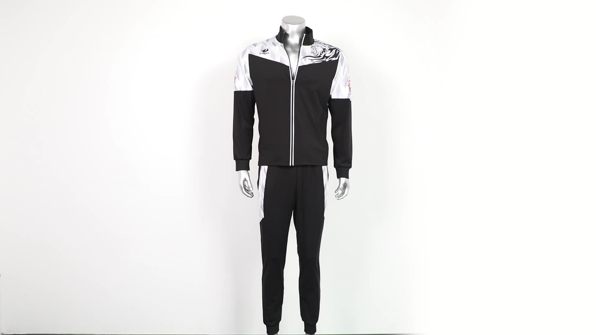 ZHOUKA New latest arrival men sportswear jogging suit winter jacket mesh tracksuit