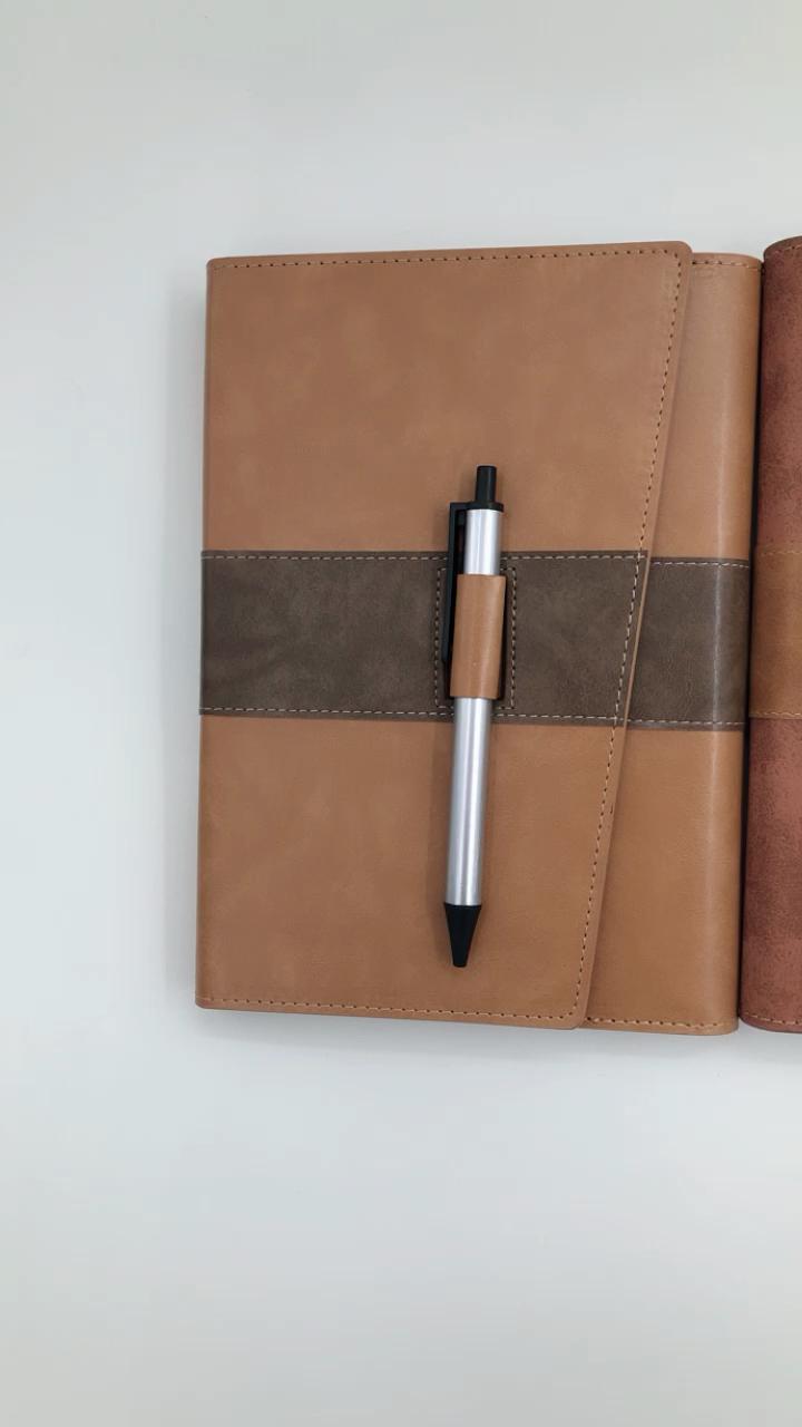 ที่มีคุณภาพสูงที่กำหนดเองการออกแบบหนัง pu นูนโลโก้ 6 แหวน binder โน๊ตบุ๊คด้วยปากกา