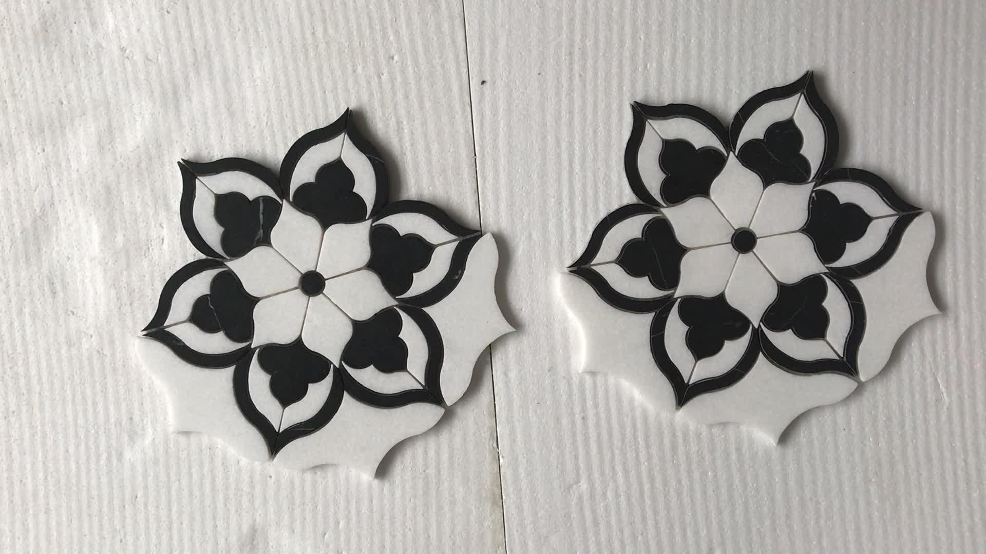 Blanco azulejo de piso de mármol de chorro de agua de mosaico para cuarto de baño