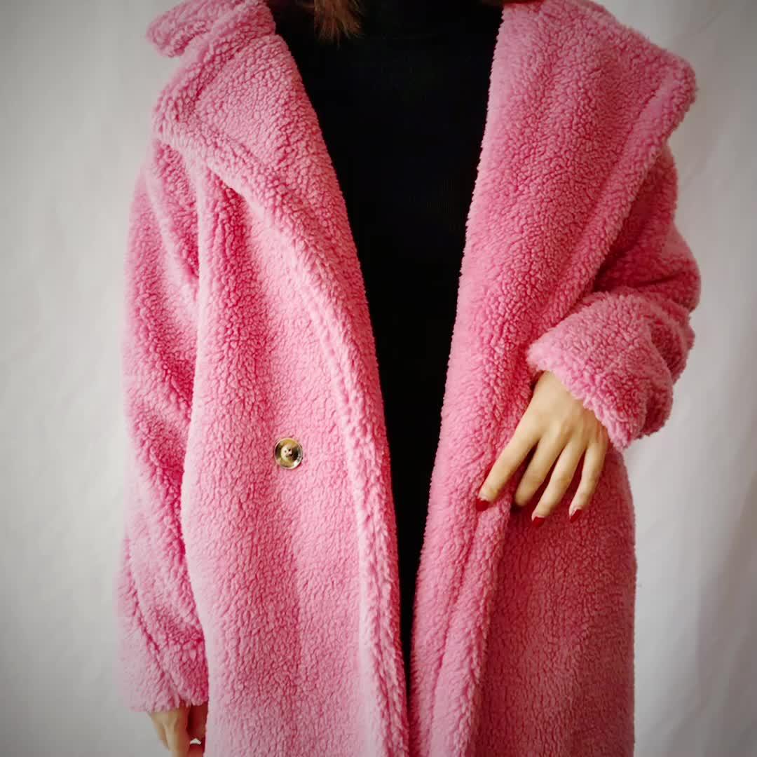 Terbaru Wanita Teddy Mantel Wanita Trench Bulu Imitasi Mantel Panjang