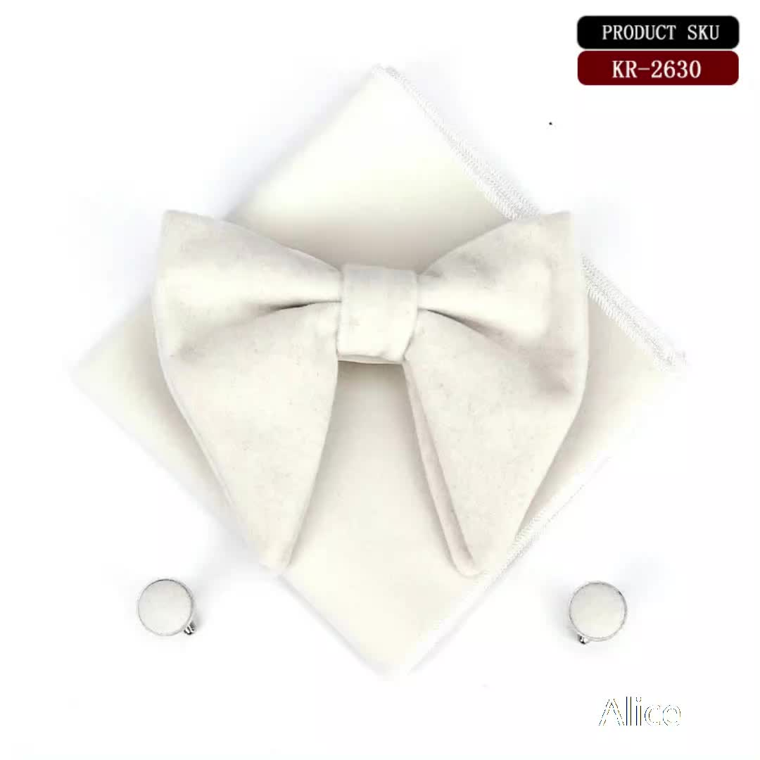 Latest fashion horn styles men flannelette bow tie square cufflinks suits bow tie