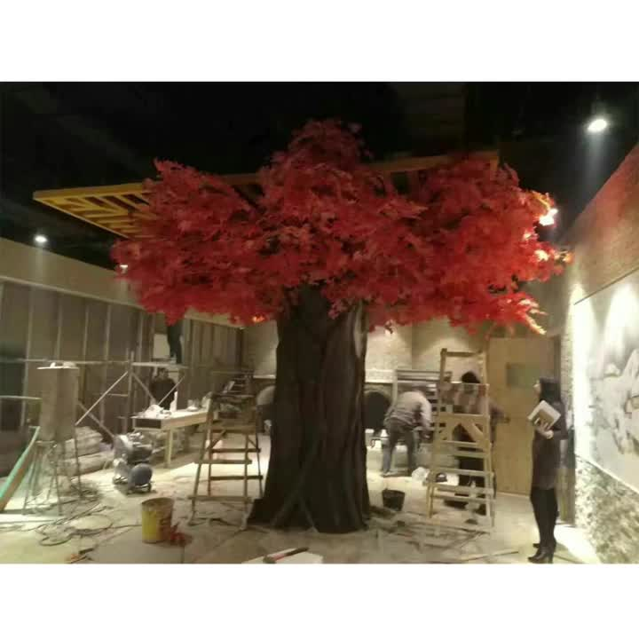 Customized cheap price 420cm height outdoor large artificial fiberglass trunk japanese red maple tree plant