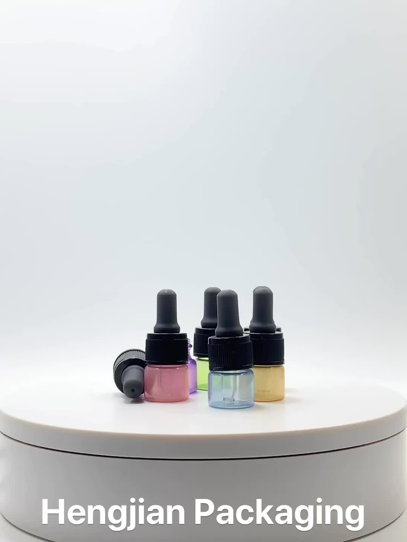 Hengjian 3ml 5ml 10ml 15ml glass cosmetic serum dropper bottle any color available