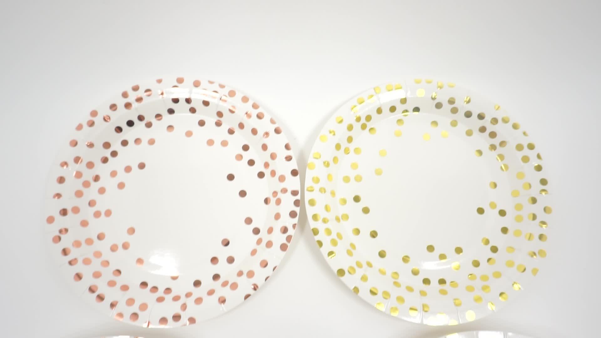 Pink Dot แผ่นกระดาษทิ้ง,ถ้วยและผ้ากันเปื้อน,ชุดอาหารรวมแผ่นกระดาษ 9 oz ถ้วย