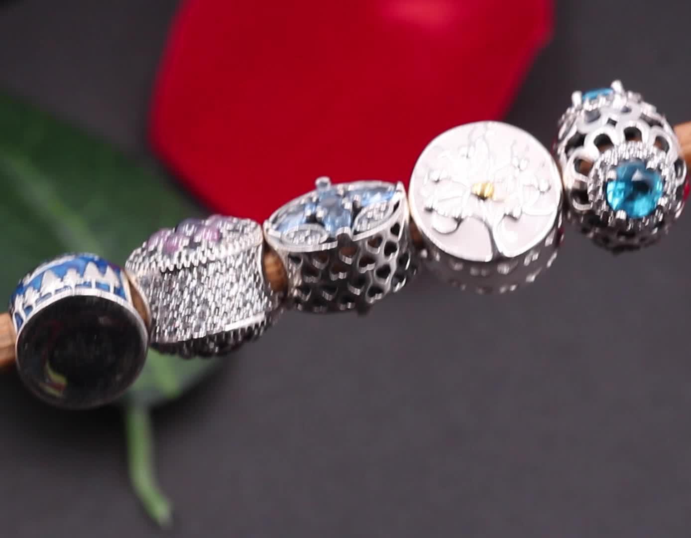 ZOECOCO Wholesale Zirkon Charm Sterling 925 Silber Perlen für Schmuck Halskette und Armbandherstellung