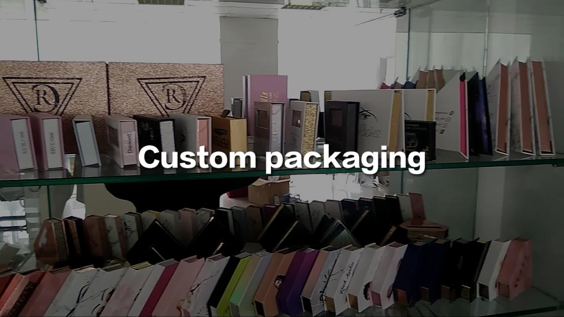 Groothandel 3d nertsen clear band wimpers en custom wimper verpakking