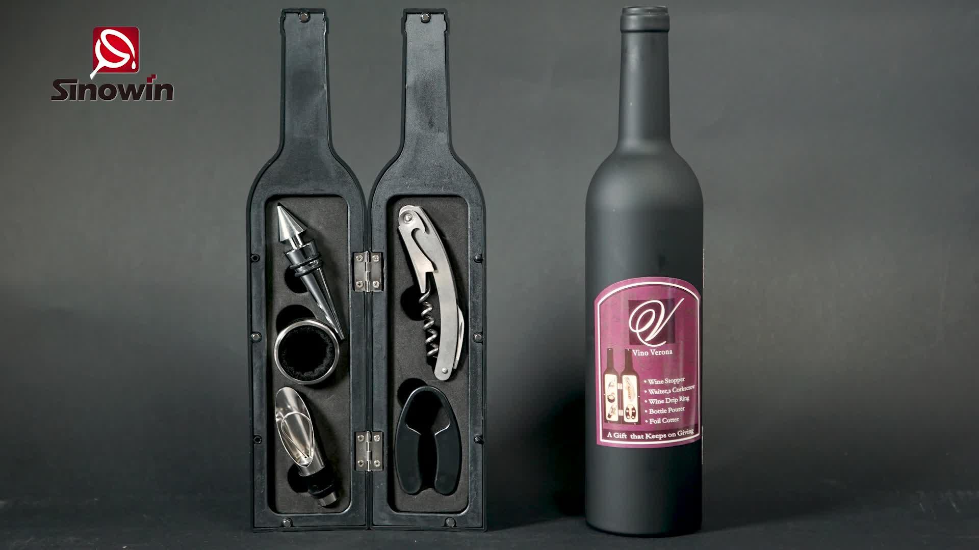 โลโก้ที่กำหนดเองและแพคเกจ 5 pcs ขวดไวน์ชุดของขวัญ