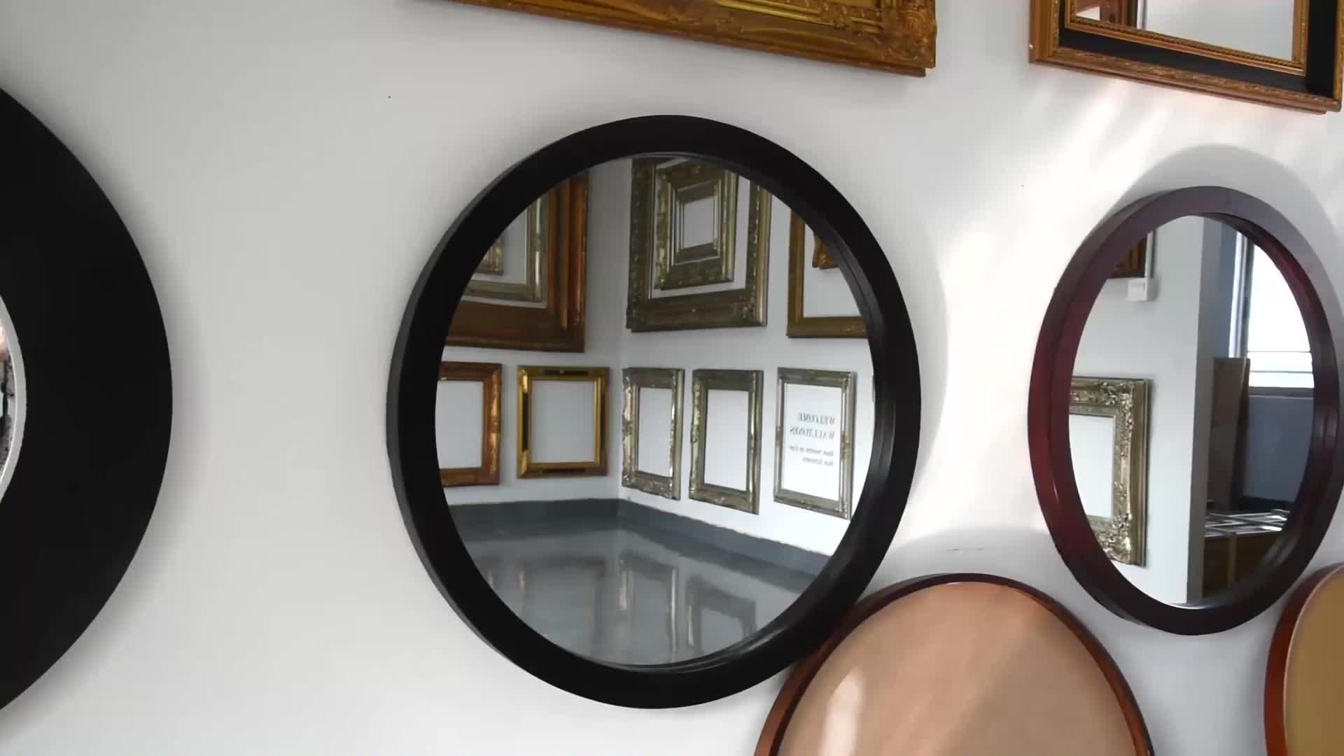 Hotel Decorative large bathroom vintage round Hanging leather frame decor wall mirror