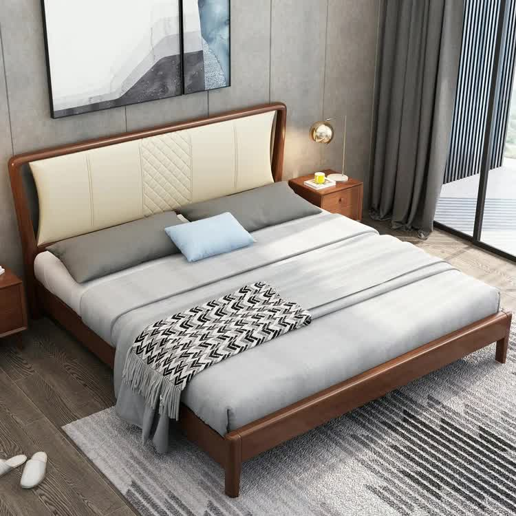 Factory Direct Supply Bedroom Furniture Customizable 2020 New Style Brown Color Double Wood King Size Bed