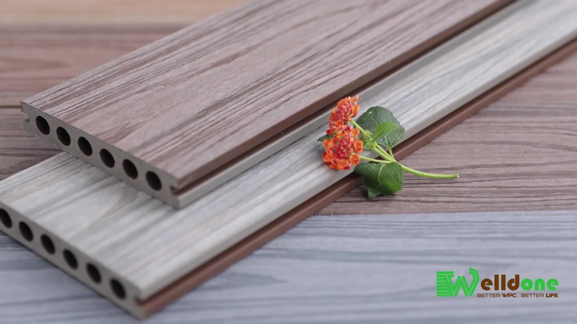Anti-uv ontworpen teak hout fabriek prijs HDPE WPC composiet terrasplanken voor outdoor vloeren
