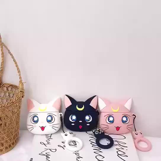 3D cat silicone case for airpods earphones cartoon covers, Protective full Cover Case for apple airpods case