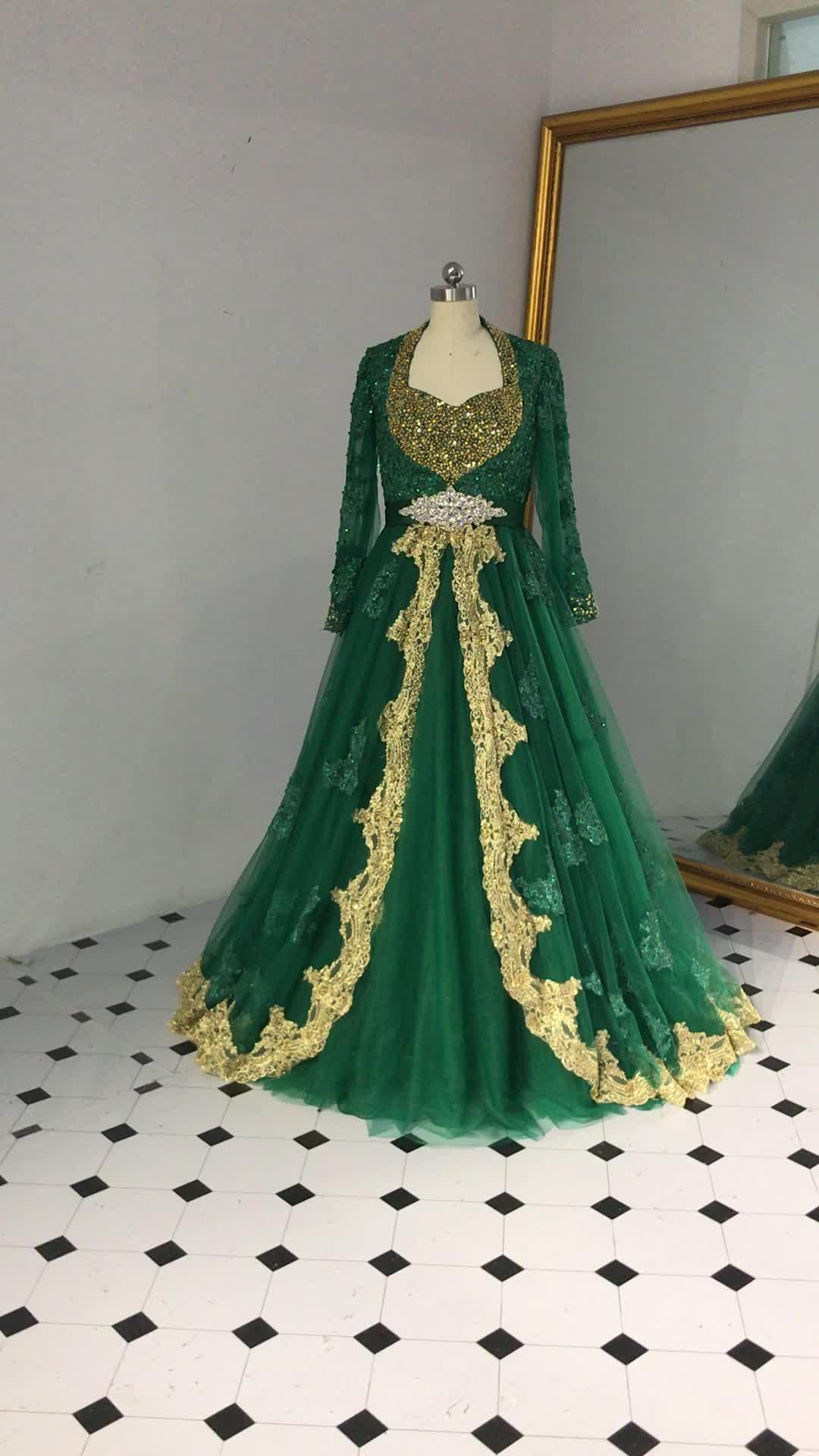 RSE890 Queen Anne Scollatura Indiano Abiti Da Sposa di Colore Verde A Maniche Lunghe Arabo Abito Da Sposa