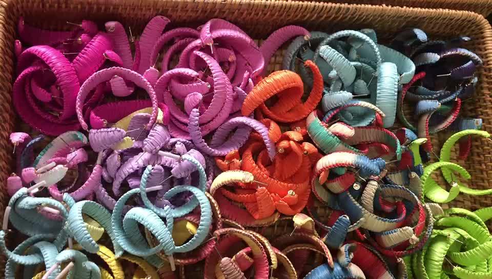 쥬얼리 여자 후프 라피아 Lafite Stuid 큰 매달려 다채로운 수제 밀짚 귀걸이
