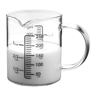 明尚德玻璃杯量杯带刻度耐高温250ml咖啡牛奶杯水杯厨房烘焙杯子