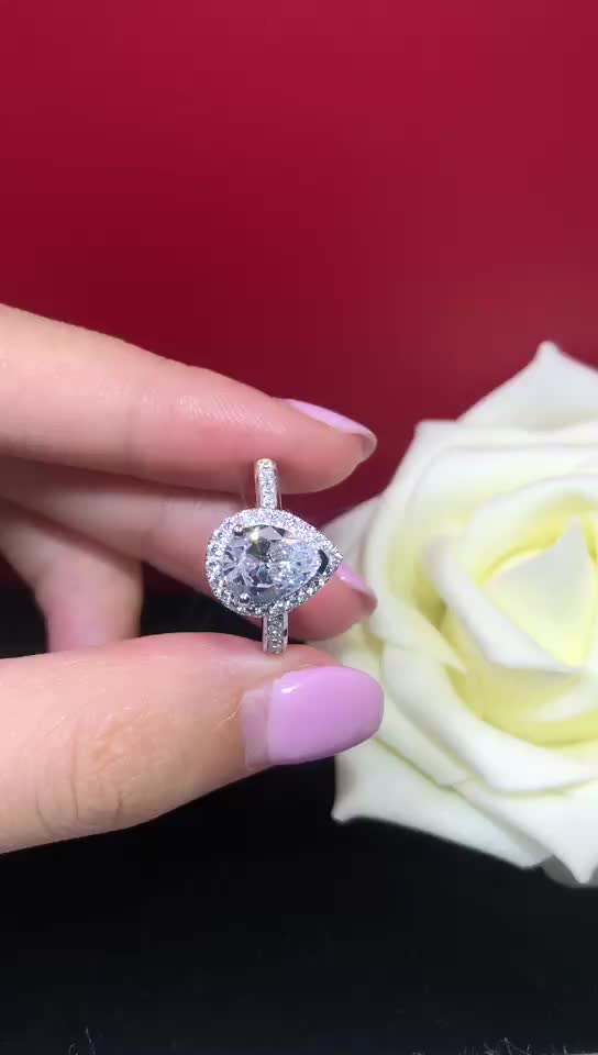 2 caract moissanite diamond high quality boutique silver female ring for wedding engagement