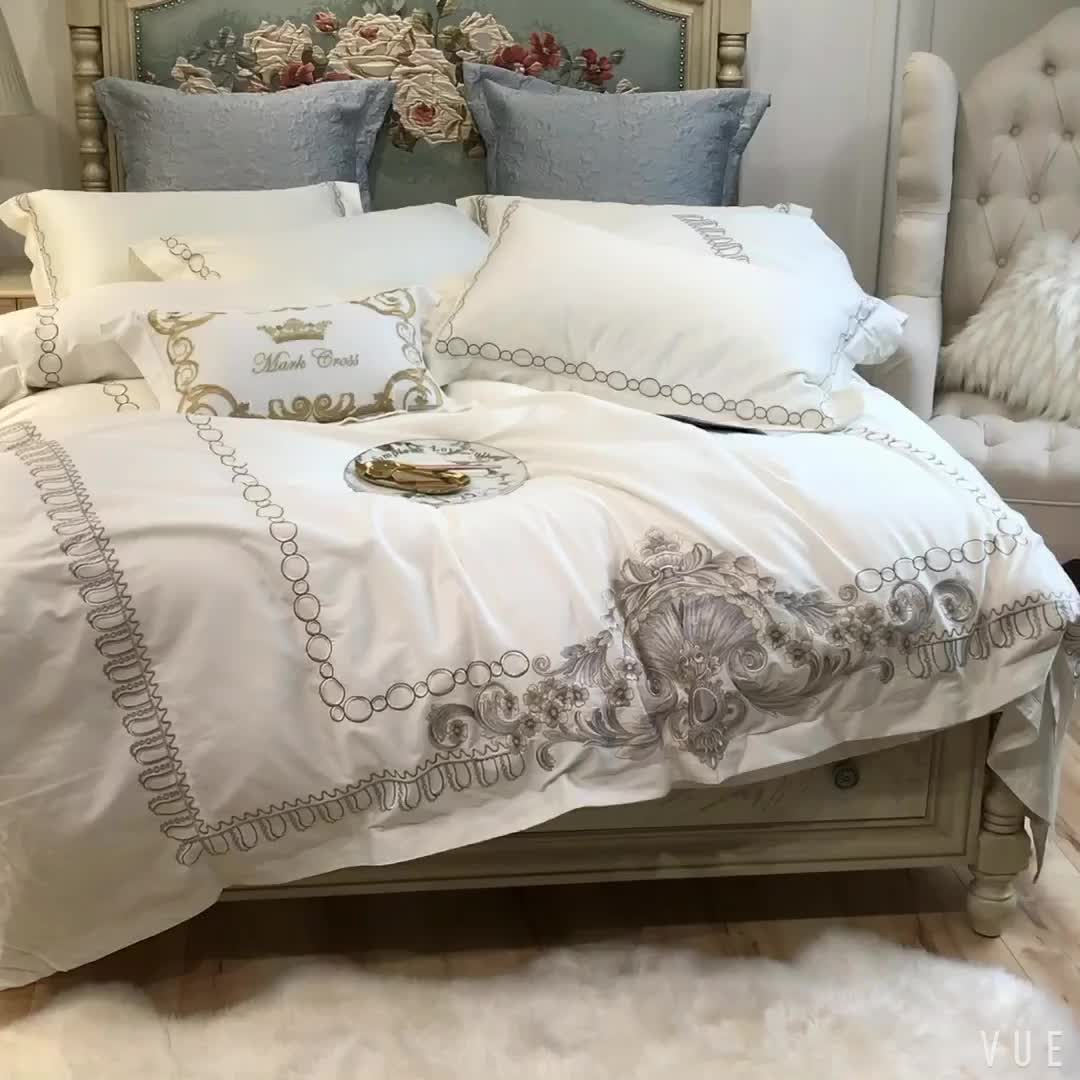 Beautiful light purple quilt cover and sheets high end bedding set 100% egyptian cotton satin