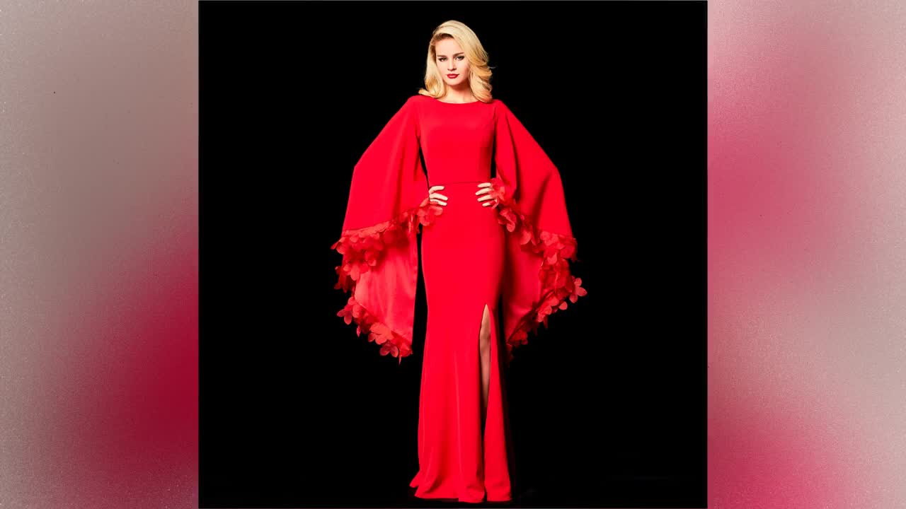 2021 Fashion Red pagoda sleeve flower evening gown dress Prom Dress Evening Dress Women