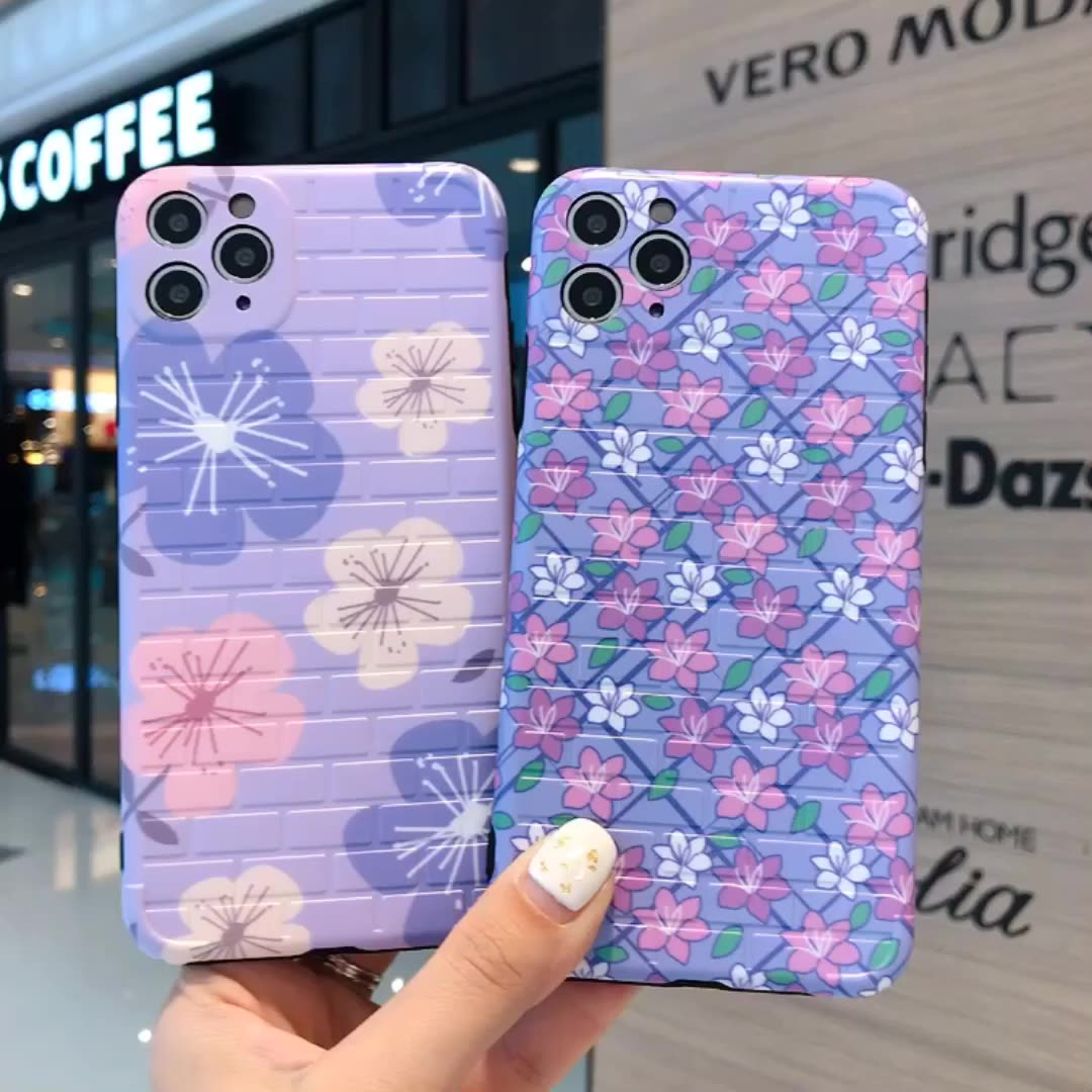 New Cute Cartoon Big Flower Bracket Shockproof Silicone Case For iPhone 11 Pro X XR XS Max 8 7 6 6S Plus SE Soft TPU Back Cover