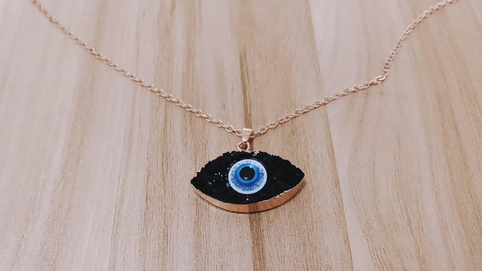 Free shipping 2019 fashion women necklace druzy quartz eye necklace