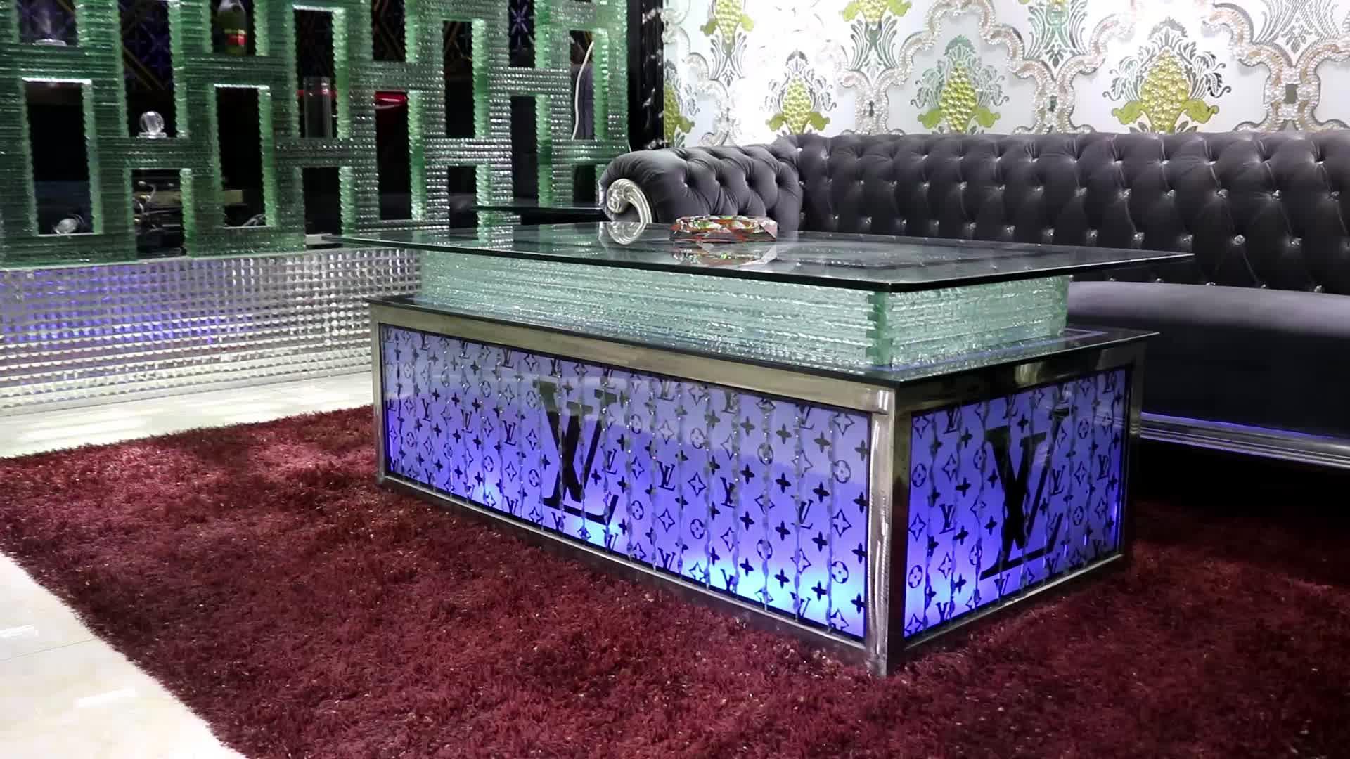 Customized logo led lounge furniture/led bar table/lounge furniture
